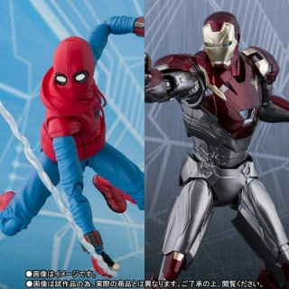 SH S.H. Figuarts Spider Man Homecoming Home Made Suit ver. and Iron Man Mark 47 Bandai Limited